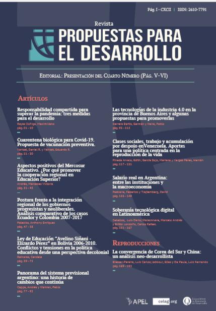 Ver Núm. IV (2020): Revista Propuestas para el Desarrollo